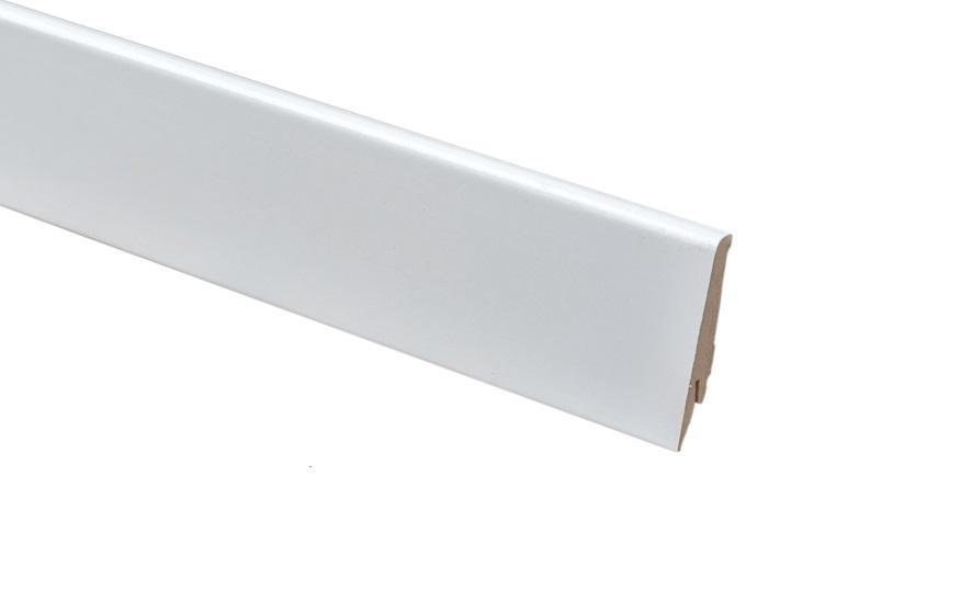 Плинтус напольный Greff Белый Глянец 1004 МДФ