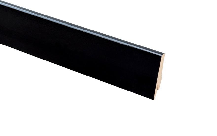 Плинтус напольный Greff Черный Глянец 1005 МДФ